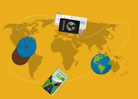Travel set of elements on world map yellow background vector illustration graphic design