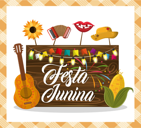 festa junina concept invitation card with culture brazyl typical elements cartoon vector illustration graphic design