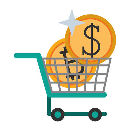 Cryptocurrency and coin in shopping cart symbol vector illustration graphic design