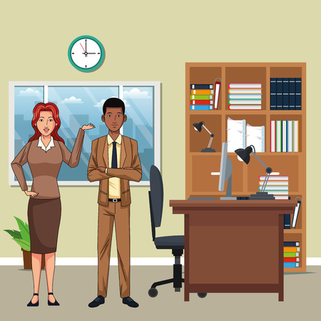 business couple avatar cartoon character indoor with a office background vector illustration graphic design