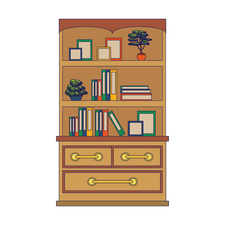 furniture concept library cartoon vector illustration graphic design