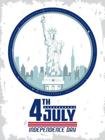 USA independence day july fourth celebration card with liberty statue emblem on red blue and white colors vector illustration graphic design