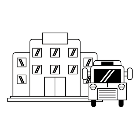 building and school bus icon cartoon vector illustration graphic design