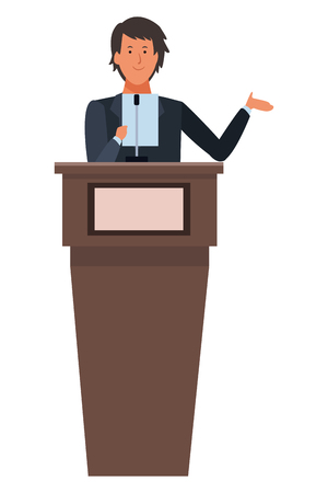 man in a podium making a speech vector illustration graphic design