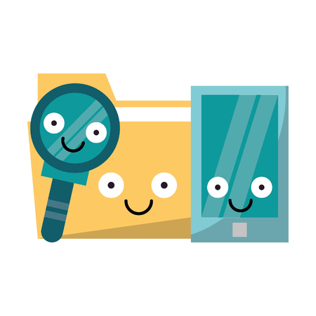 Smartphone and folder with magnifying glass smiling cartoons vector illustration graphic design