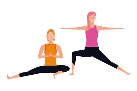 couple yoga poses avatars cartoon character vector illustration graphic design Vectores