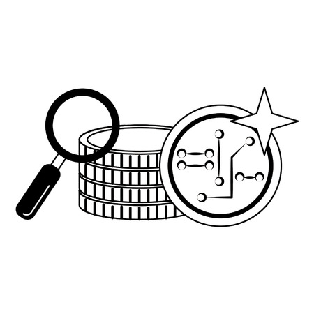 Magnifying glass looking cryptocurrency money isolated vector illustration graphic design