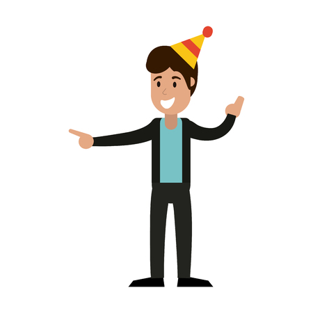 happy man with birthday hat cartoon vector illustration graphic design