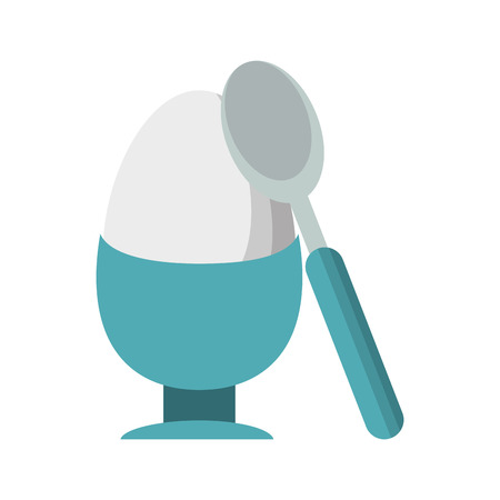 Hard boiled egg with spoon vector illustration graphic design