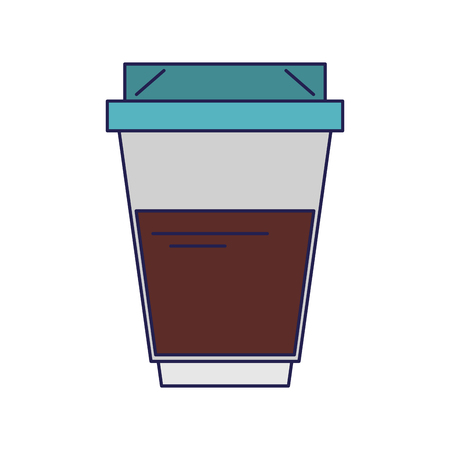 Coffee hot plastic cup coffeeshop with cofee sleeve and lid for hot beverage or drink isolated vector illustration graphic desing Ilustração