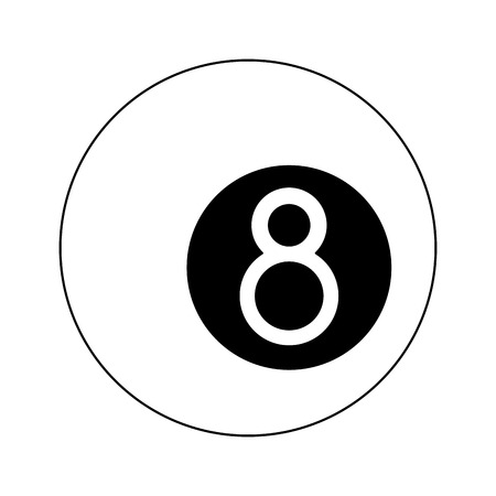 Pool eight ball cartoon isolated Design Çizim