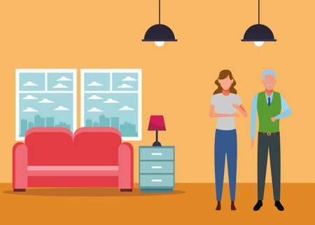 young woman and old man avatar cartoon character at home vector illustration graphic design