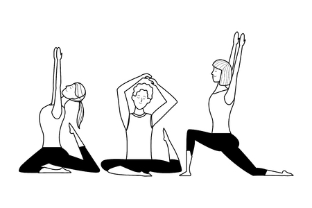 people yoga poses avatars cartoon character short hair ponytail black and white isolated vector illustration graphic design