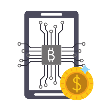 Bitcoin cryptocurrency smartphone and coin symbols vector illustration graphic design Vector Illustration