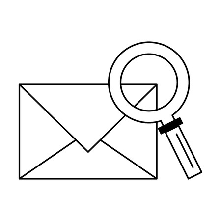 Email and magnifying glass symbol vector illustration graphic design Illustration