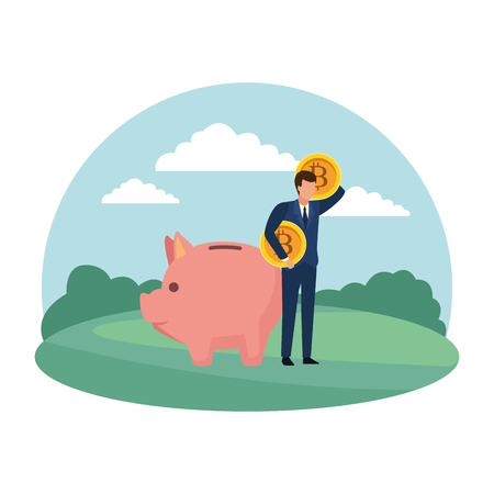 Businessman with bitcoins and piggy in the park scenery vector illustration graphic design