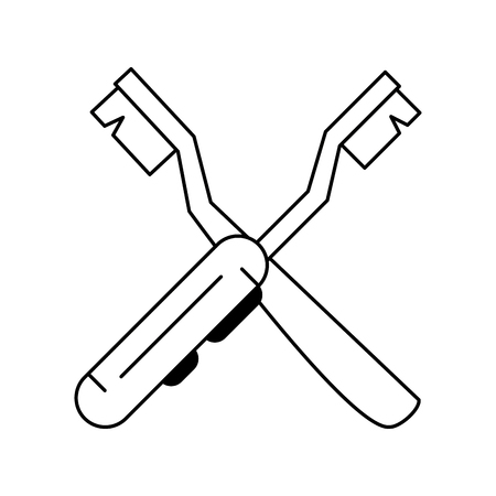Dental brush and electric brush crossed symbol vector illustration graphic design