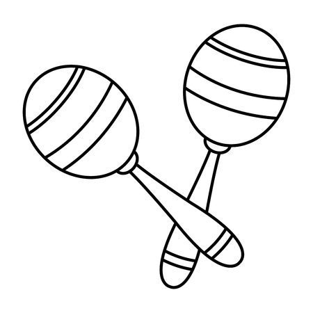 maracas icon cartoon isolated black and white vector illustration graphic design