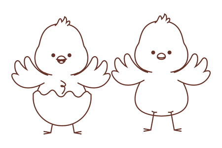 Happy  farm animals chicks pair wearing eggshell easter season drawing black and white outline vector illustration graphic design  イラスト・ベクター素材