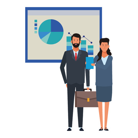 business couple with infographics data chart business icon vector illustration graphic design