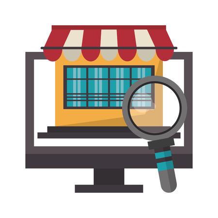 online shopping computer pc concept cartoon vector illustration graphic design