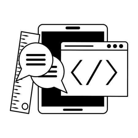 Sistema operativo de tableta en construcción con símbolos de configuración ilustración vectorial diseño gráfico