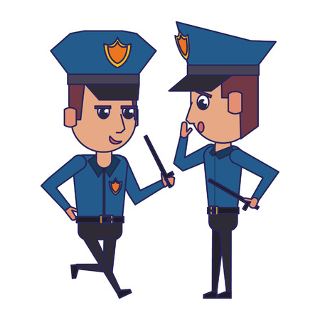 two policemen working avatar cartoon character vector illustration graphic design