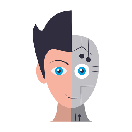 humanoid cyborg front view head half human and half robot avatar cartoon character vector illustration graphic design
