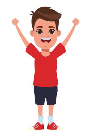 Junges kleines Kind Junge mit Händen nach oben Avatar Cartoon Charakter Porträt Vektor Illustration Grafikdesign