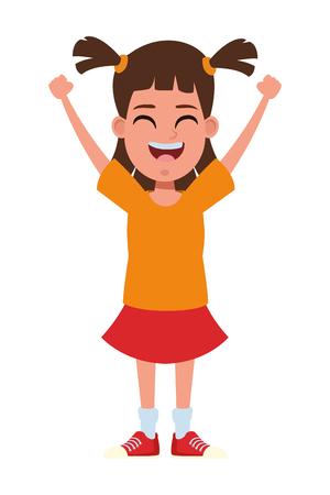 junges kleines Mädchen mit Zöpfen und Händen nach oben Avatar Cartoon Charakter Porträt Vektor Illustration Grafikdesign Vektorgrafik