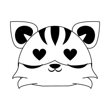 Cute tiger in love animal cartoon  vector illustration graphic design Иллюстрация
