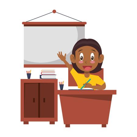 Student girl seated in desk in classroom wth whiteboard and cabinet vector illustration graphic design Foto de archivo - 124140634