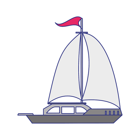 Sail boat ship sideview cartoon isolated vector illustration graphic design Illustration