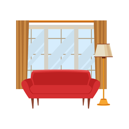 living room window with curtain behind of red couch and floor lamp icon cartoon vector illustration graphic design vector illustration graphic design Illustration