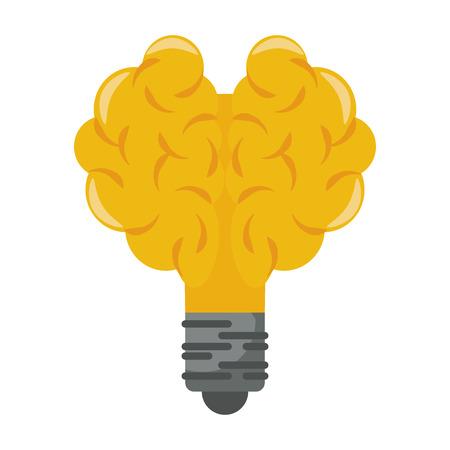 Bulb light brain shape symbol isolated vector illustration graphic design Illustration