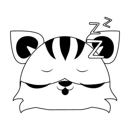 Cute tiger sleeping animal cartoon vector illustration graphic design