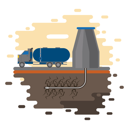 Fracking zone, oil pump and truck with tank extracting petroleum from suboil with pipes. vector illustration graphic design