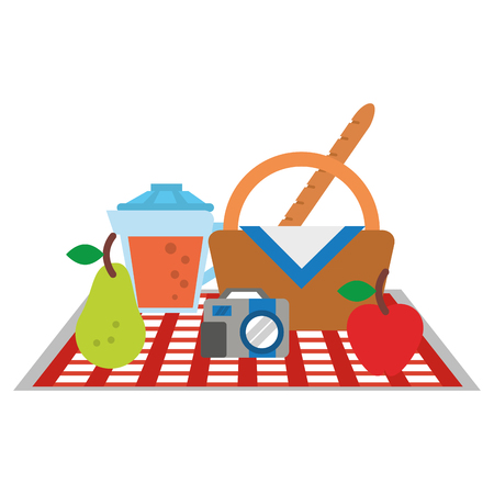 Picnic basket with food and elements cartoon vector illustration graphic design