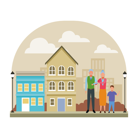 elderly couple with child avatar cartoon character in the neighborhood cityscape scenery vector illustration graphic design