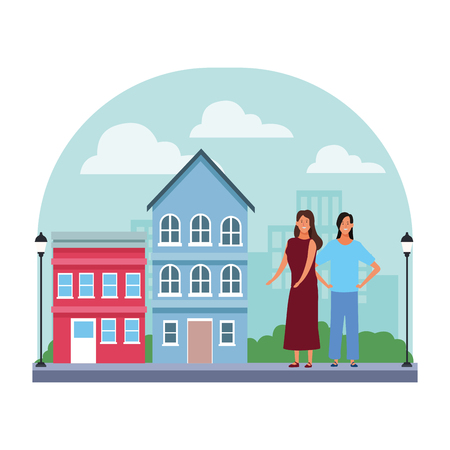 women avatar cartoon character arm on the hips wearing dress in the neighborhood scenery vector illustration garphic design