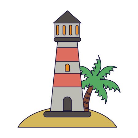 Lighthouse in beach cartoon vector illustration graphic design vector illustration graphic design Иллюстрация