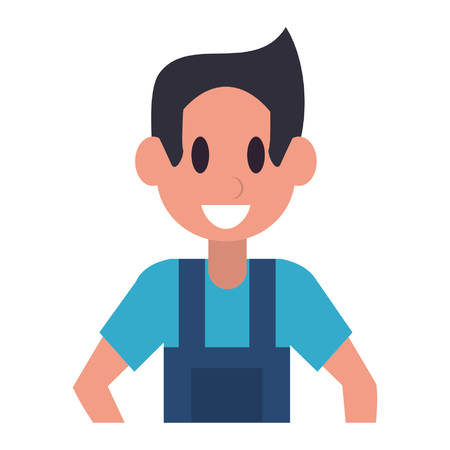 Carpenter character  worker cartoon profile vector illustration graphic design