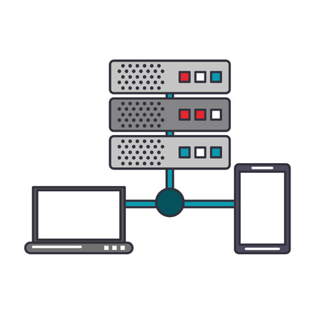 Laptop and smartphone connected to database servers vector illustration graphic design