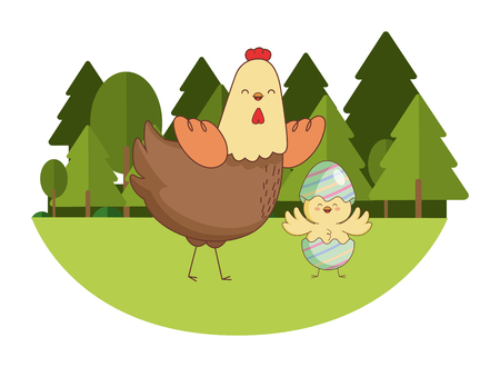 Happy farm animals hen and chick wearing eggshell easter season drawing  on grass with trees scenery vector illustration graphic design Ilustração