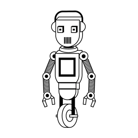 Robot with wheels funny character cartoon isolated vector illustration graphic design
