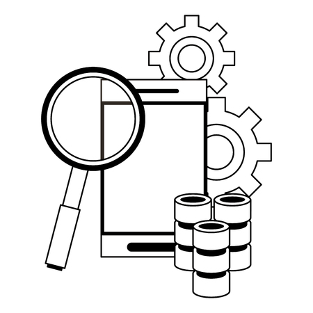 Server database smartphone and magnifying glass with gears vector illustration graphic design