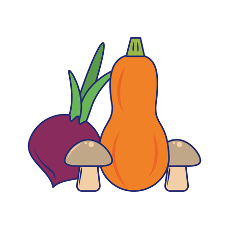 Fresh vegetables healthy food cartoon vector illustration graphic design