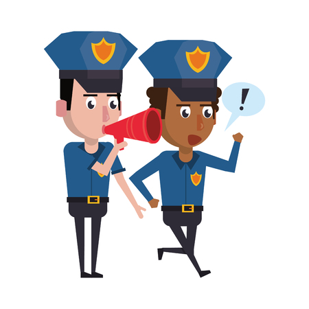 two policemen working afroamerican policeman using peripone avatar cartoon character vector illustration graphic design
