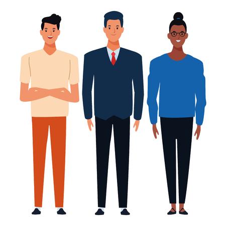 Groupe d'amis avatar personnage de dessin animé avec des vêtements décontractés de mode vector illustration graphic design