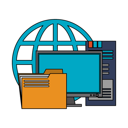 Server database computer folder and global sphere symbols vector illustration graphic design Illustration
